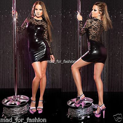 Sexy Black Latex Look Long Sleeved Gogo Mini Dress with Lace. UK 8/10.