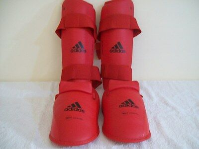 Adidas Shin And Instep Guards With Heel Protection - Kickboxing MMA - Size Large