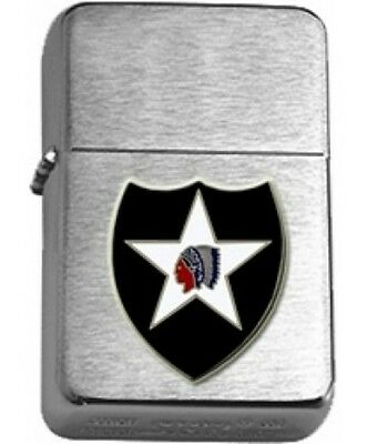 US Army 2nd Infantry Division Brushed Chrome Star Lighter