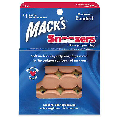 Mack's Snoozers Silicone Putty Earplugs for Noise Reduction, Sleep (6 Pairs)