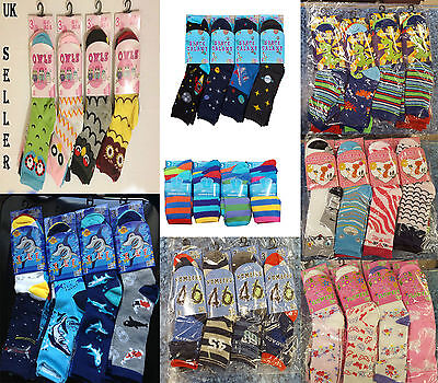 12X Pairs Kids Boy Girl Designer Animal Dinosaur Floral Print Fashion Socks