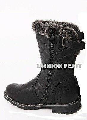 New Girls Kids Faux Fur Lined Buckle Quilted  Infants Mid Calf Winter Boots