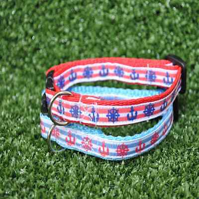 Red Blue Seaside Anchor Wheel Boat Cat Kitten Puppy Small Dog Collar