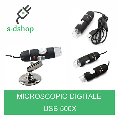 Microscopio Digitale Usb 500X Pc Notebook Foto Video 8 Led 2.0Mpx Con Staffa Cd