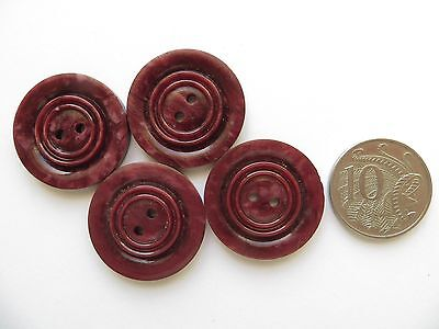 1930s Vintage Med Art Deco 'Circles' Cranberry Red Coat Dress Craft Buttons-28mm