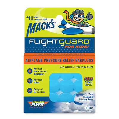 Mack's Flightguard Airplane Earplugs for Kids for Travel, Pressure Relief 6 Pair