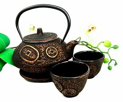 Japanese Coin Money Pattern Heavy Cast Iron Tea Pot With Trivet and Cups for Two