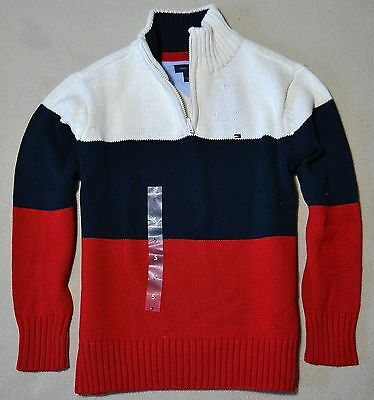 Bnwt Tommy Hilfiger Kids  Boys 1/2 Zip Striped Sweater Shirt Sz 3 5 6 Lg 16-18