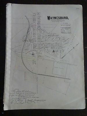 HISTORIC 1883 Map of the Town of Waynesburg, PA  - Property Specific Detail
