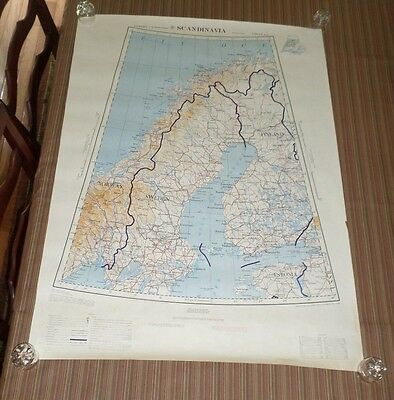 Fantastic, very large colored map of Scandinavia (1955)  Scarce!