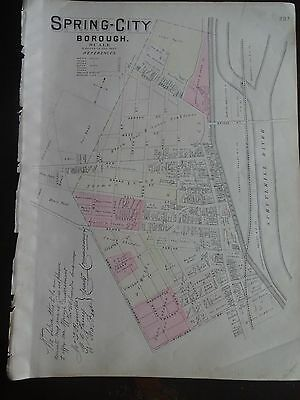 HISTORIC 1883 Map of the Borough of Spring-City, PA - Property Detail