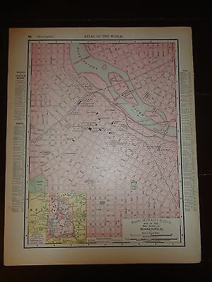 Nice 1895 antique colored map of the CIty of Minneapolis or St. Paul, MN