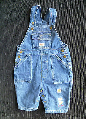 Baby clothes BOY 3-6m mid-blue denim dungarees beige stitching SEE SHOP! COMBINE