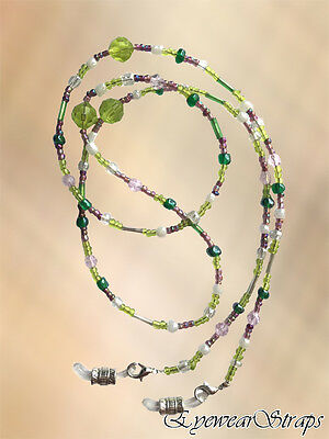 Lime, Dusky Pink & Pearl Glass Beaded Eye Glasses Sunglasses Chain Strap Holder