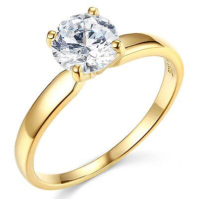 1.00ct Round Brilliant cut Solitaire Engagement Ring Real 14k Solid Yellow Gold