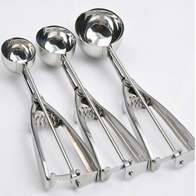 Ice Cream Spoon Stainless Steel Spring Handle Masher Cookie Scoop m7
