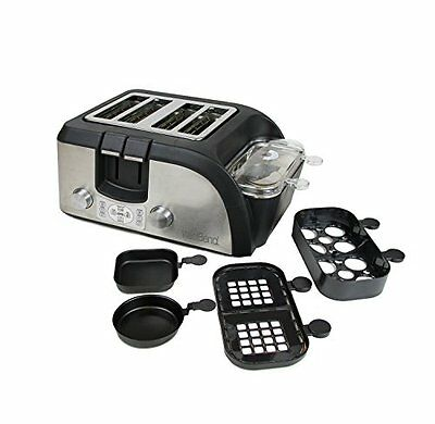 West Bend TEMPR100 Breakfast Station Egg and Muffin Toaster Oven, Silver/Black
