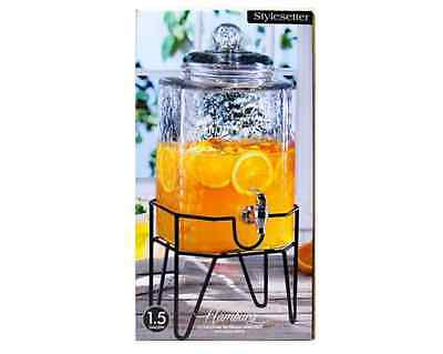 Cold Ice Tea Lemonade Beverage Drink Paty Glass Dispenser on Stand 1.5 gal New