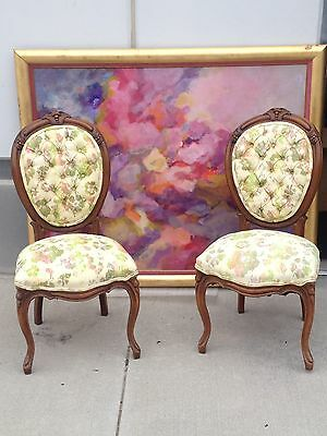 Two Antique Victorian Rosewood Parlor BALLOON Side Chair c1880 UPHOLSTERED