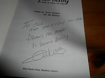 RUFUS Baby / Crawford / Autographed / Signed Hamilton Tiger-Cats CFL Book 1990