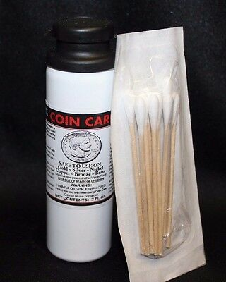 Coin Care Cleaning Solution Gold Silver Copper Nickel 2 oz Cleaner + 10pk Q-Tips