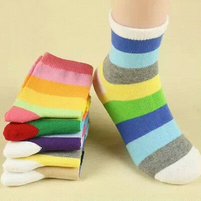Toddlers Kids Boys Girls Soft Striped Cotton Warm Socks Casual Chic 5 Pairs