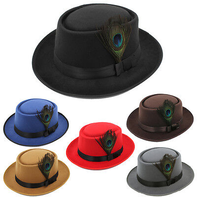 Men Women Pork Pie Hats Sailor Boater Caps Fedora Trilby Sunhat Peacock Feather