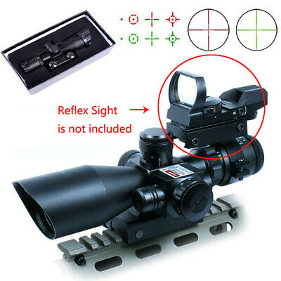 2.5-10x40 Tactical Rifle Scope Mil-dot Dual illuminated with Red Laser & Mount