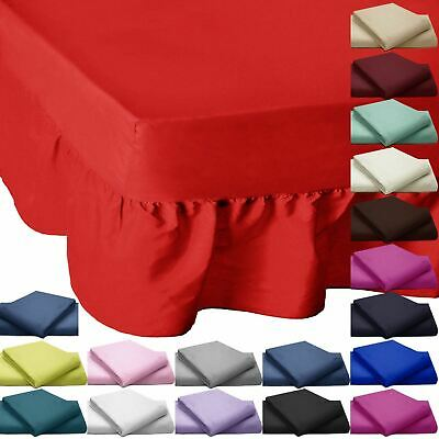 Plain Valance Bed Sheets Cover Beddings 200 Thread Count Frill Egyptian Cotton