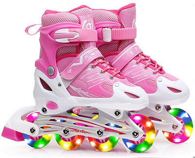 Adjustable Roller Blades Inline Skates Pink Ice Skating LED Wheels Sports Women