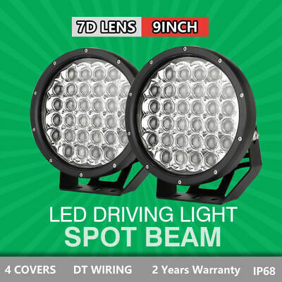 Pair 9inch 99999W CREE LED Driving Lights Spotlight Black Round OffRoad 4X4 SUV