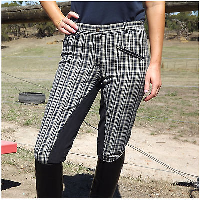 Beige Black Grey Check Ladies Full seat Breeches Women Riding Pants Size 8 to 20