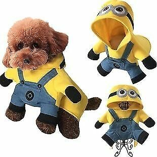 Warm pet dog clothes puppy apparel yellow minions pants hoodie coat costumes