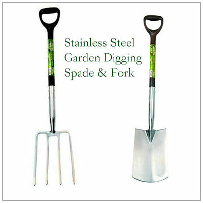Heavy Duty Black Garden Digging Spade And Fork Set Stainless Steel Finish