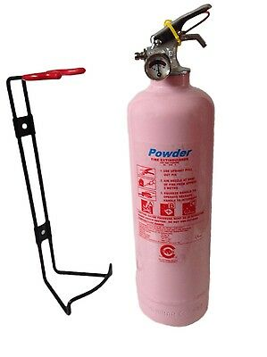 Pink  1 Kg Powder Fire Extinguisher Home Garage Work Kitchen-Fully Ce Marked