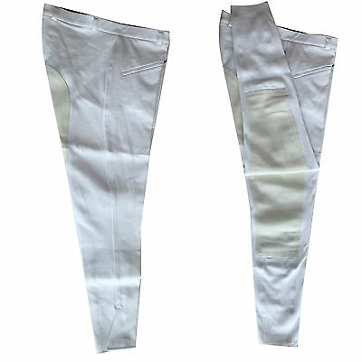Full Seat White Men's Woven Riding  Breeches  in  Sizes 32 34 36 38