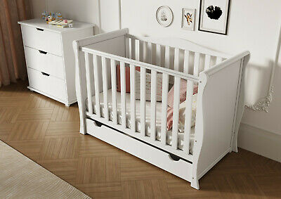 New Baby White Sleigh Cot Junior Bed With Drawer +Spring Sprung Quality Mattress