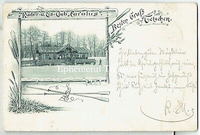 1897 Gruss Aus Decin (Tetschen), Czech. Rowing Club.  Undivided back