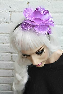 Purple Big Flower Crown Headband Bridal Bride Bridesmaids Floral Facinator