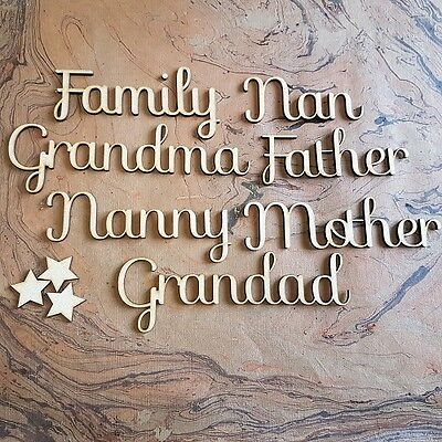 """Script """"Family"""" Names MDF Wooden 50mm Relations Clan Decor Artistic Home SF"""
