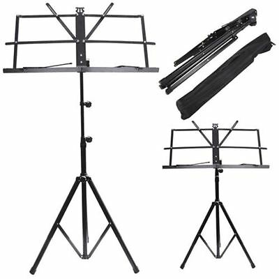 Metal Adjustable Music Sheet Stand Holder Folding Foldable & Carry Case Bag