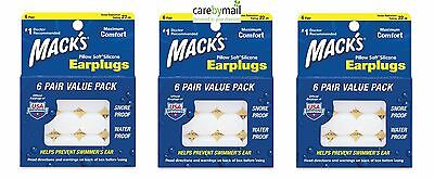 Mack's Pillow Silicone Earplugs for Sleep, Travel (3 units, 18 Pairs) Multibuy