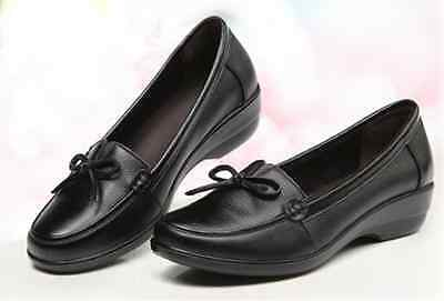 AU SZ 8.5 Women's Black Leather Upper Comfort Slip-on Nursing Casual Boat Shoes