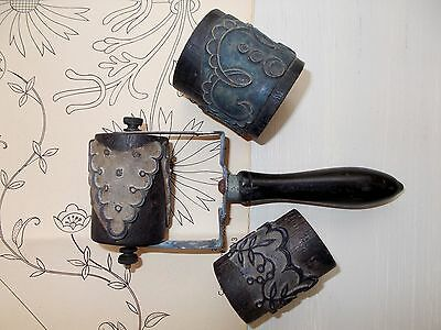 Large Antique French Embroidery Printing Roller Handle & 3 Barrel Rollers (4414a