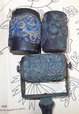 Large Antique French Embroidery Printing Roller Handle & 3 Barrel Rollers (4414c