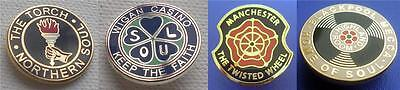 Northern Soul - 4 Badge Set 2 - Torch - Wigan Casino - Twisted Wheel - Mecca