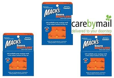 Mack's Snore Mufflers Silicone Earplugs for Sleeping (3 units,18 pairs) Multibuy