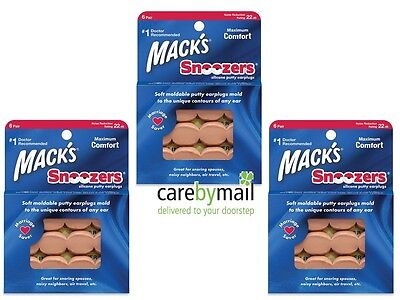 Mack's Snoozers Silicone Putty Earplugs for Sleeping (3 units,18 pairs) Multibuy