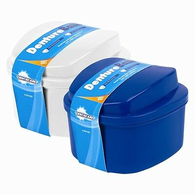 2 x New Dentalcare Denture Bath Case Container Box With Rinsing Basket & Lid
