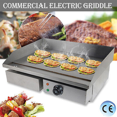 55CM Commercial Electric Griddle Grill Flat Hotplate Kitchen BBQ Stainless Steel